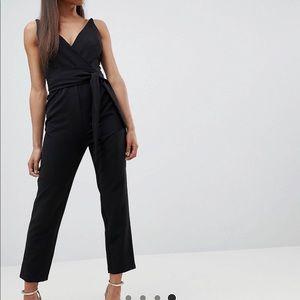 Asos Petite Wrap Front Peg Leg Jumpsuit with Belt